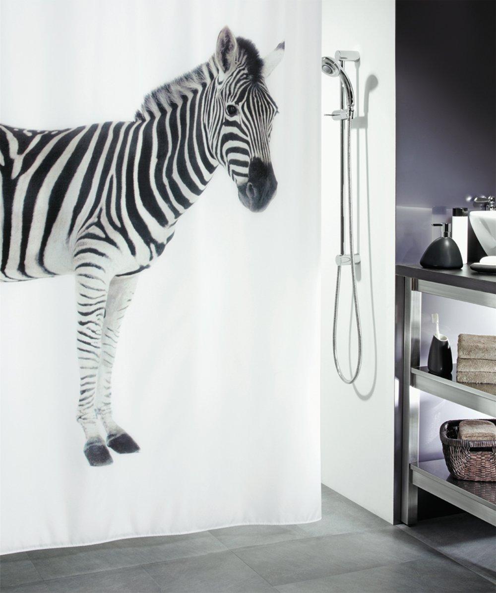 Штора для ванной 180x200см текстильная чёрно-белая Spirella ZEBRA