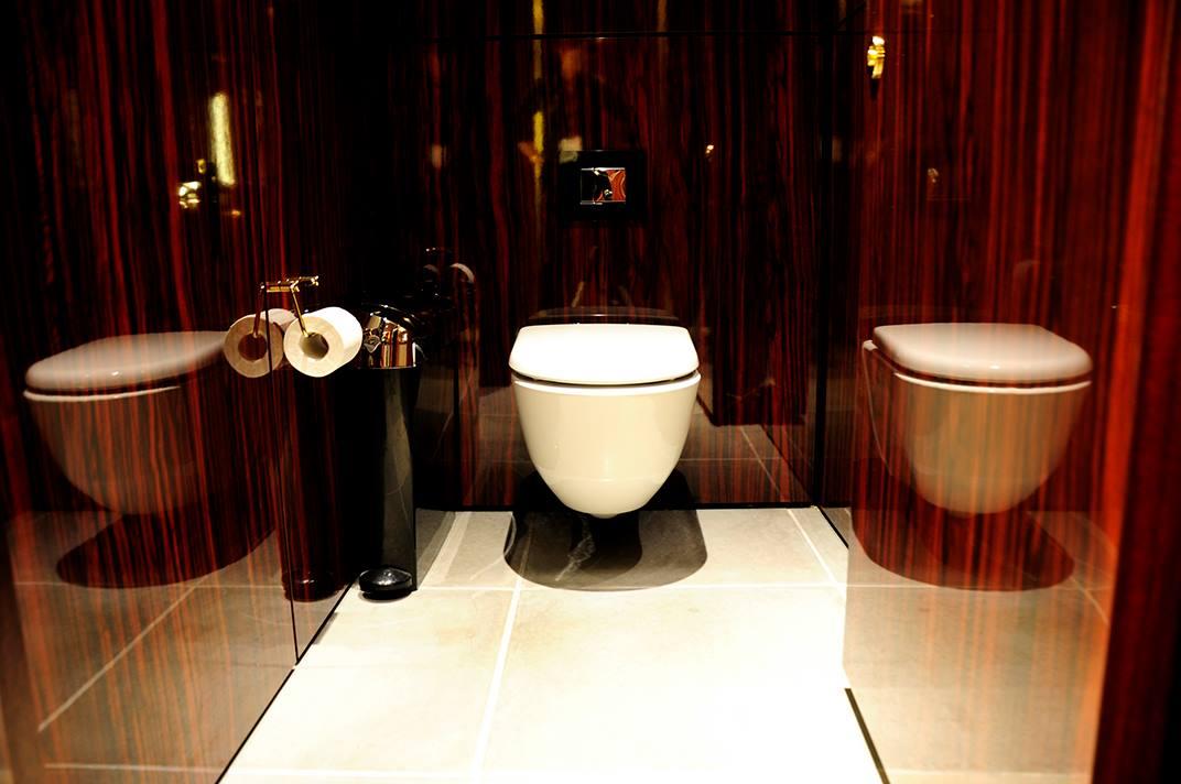 Унитаз из коллекции Laufen Pro в туалете гостиницы Mondrian London at Sea Containers. Вид Б