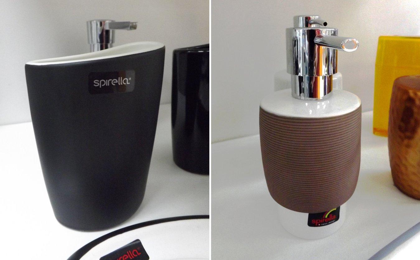 Аксессуары швейцарской фирмы Spirella из ассортимента 2015 года: дозатор для мыла и стакан для щёток