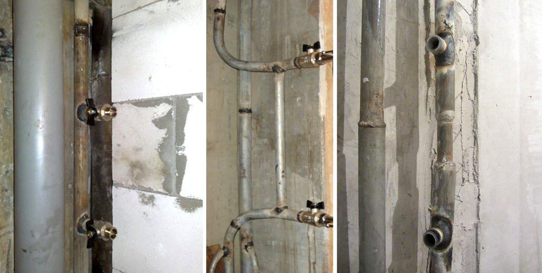 Байпасы слева направо: без смещения, со смещением и зауженный, — а также отводы для монтажа полотенцесушителя
