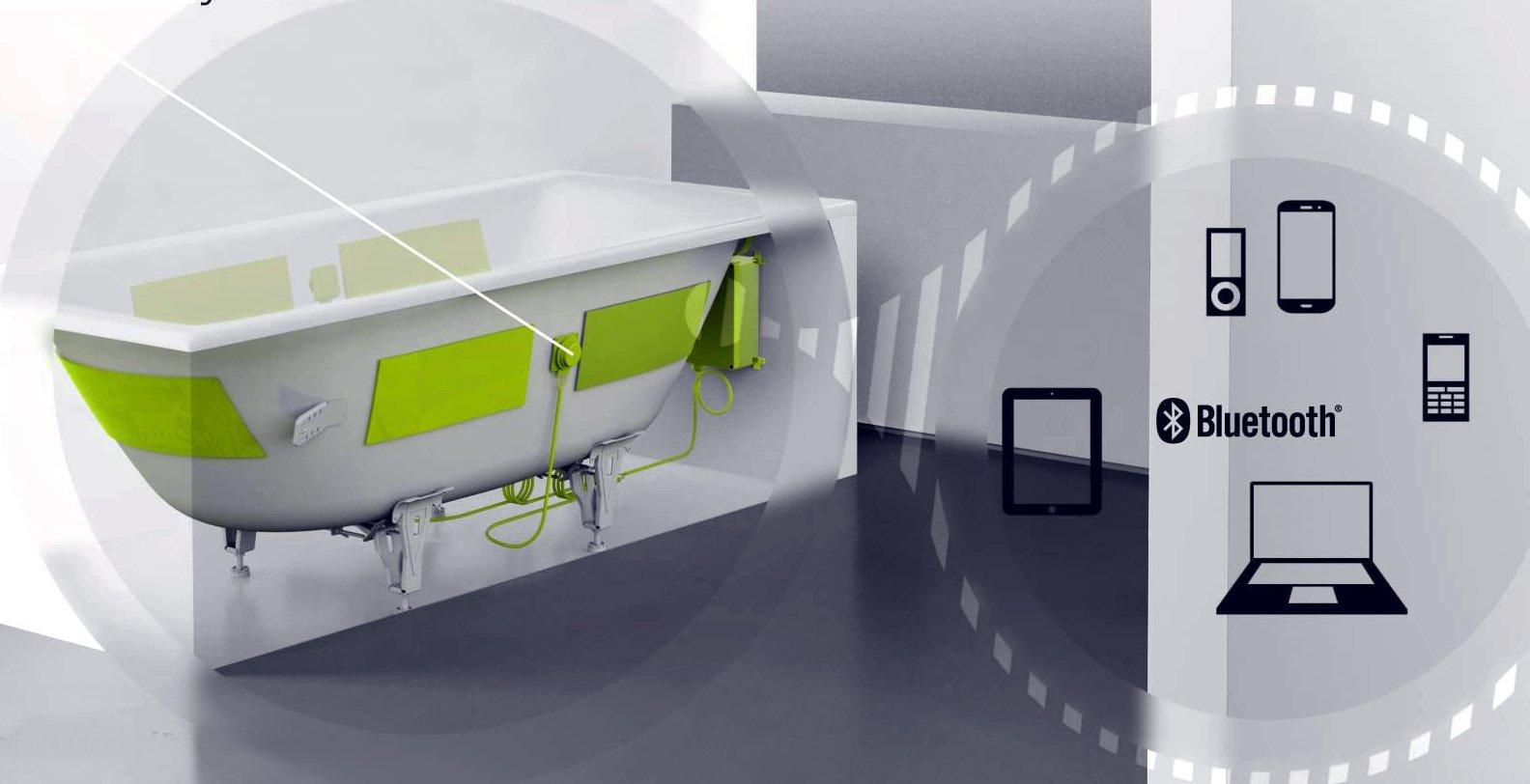 Схема расположения и источников музыкальных файлов акустической системы Sound Wave для стальных эмалированных ванн Kaldewei