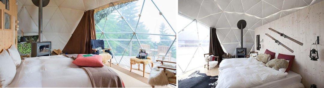 Интерьеры гостиничных номеров отеля Whitepod в Швейцарии, который является одним из образцов современного глэмпинга