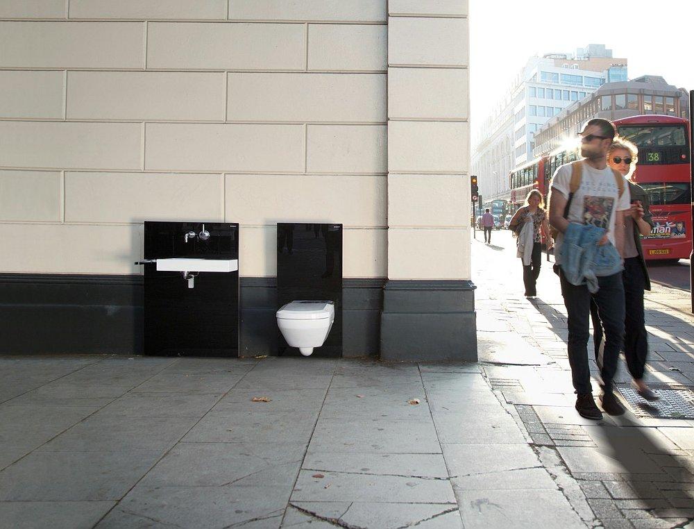 Инсталляции Geberit для подвесных раковин и унитазов на Шафтесбури Авеню в Лондоне