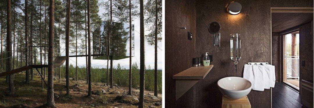 Внешний вид и интерьер домиков глэмпинг-курорта от The Tree Hotel's Mirror Cube