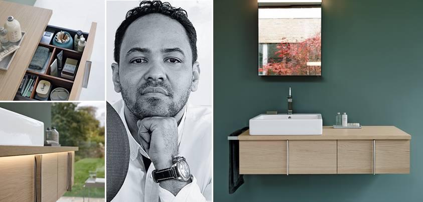 Саноборудование для ванной из серии Duravit VERO, и автор мебели к нему - Курт Мерки. Коллаж