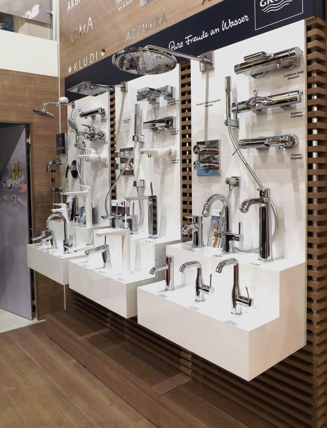 Выставочный стенд с сантехникой от Grohe на международной строительной выставке «МосБилд 2016»