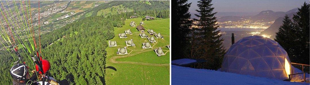 Окрестности отеля Whitepod в Швейцарии, который является одним из образцов современного глэмпинга