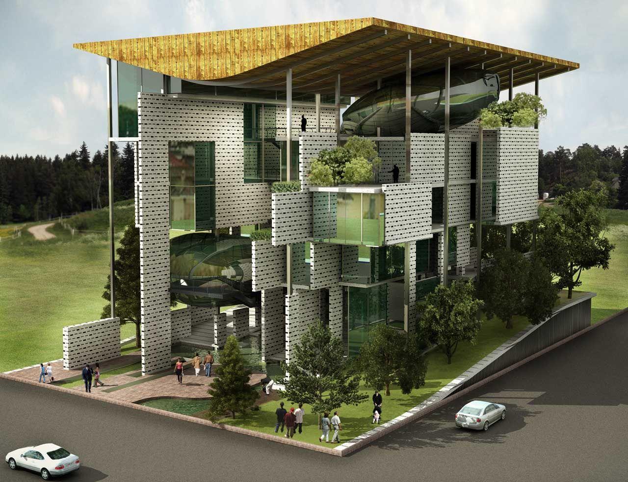 Иллюстрация для статьи о проекте дома-губки, на который обратили внимание менеджеры бренда Hansgrohe AXOR летом 2014 года. Вид А