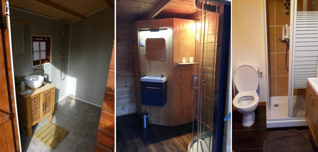 Интерьеры санузлов, душевых и туалетов, изолированных от жилых пузырей-модулей глэмпинг-курорта от Attrap'Rêves