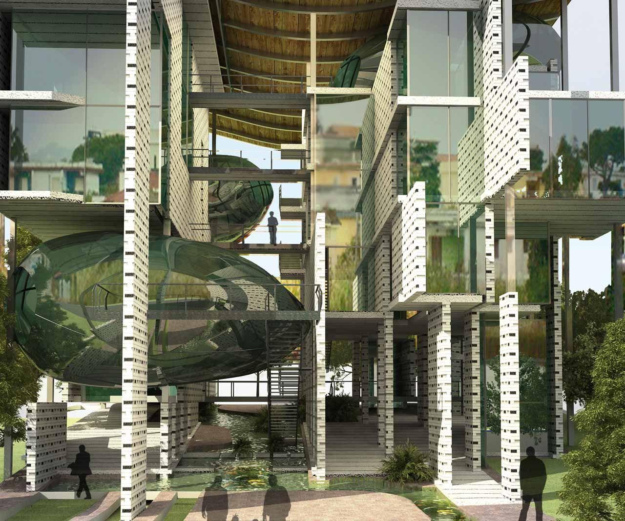 Иллюстрация для статьи о проекте дома-губки, на который обратили внимание менеджеры бренда Hansgrohe AXOR летом 2014 года. Вид Б