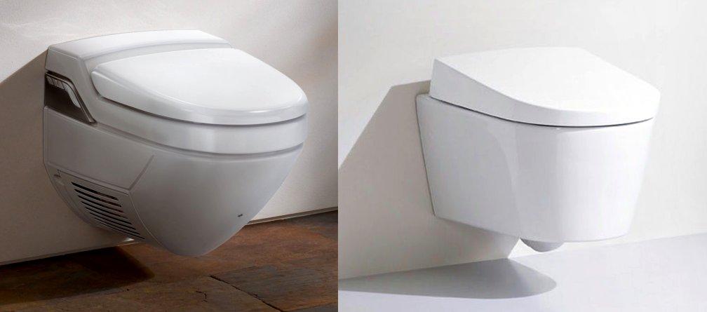 Подвесные унитазы-биде Geberit AquaClean: модели 8000 (слева) и Sela
