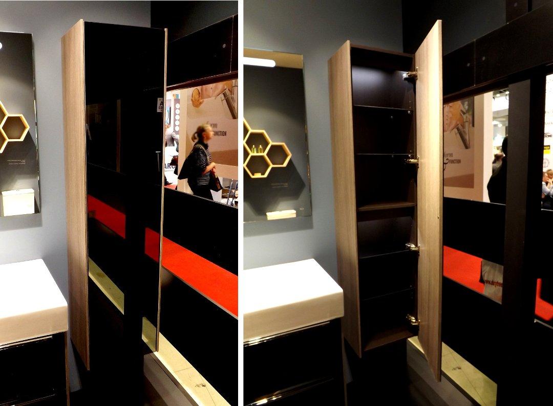 Колонна (шкаф) для ванной с оформлением «тёмный дуб с зеркальным фасадом» из коллекции INSPIRA от Roca, представленная на выставке MosBuild 2016