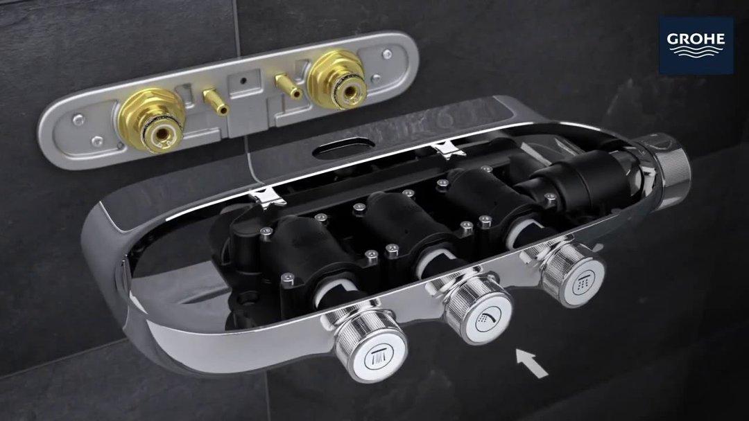 Иллюстрации процесса установки душевой системы  RAINSHOWER® SMARTCONTROL от Grohe