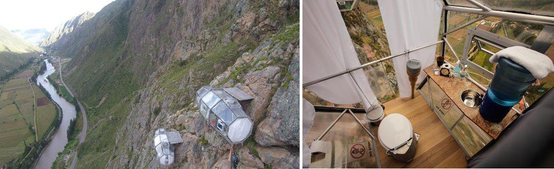 Внешний вид и санузел жилого модуля глэмпинг-курорта от Skylodge Suites в Перу