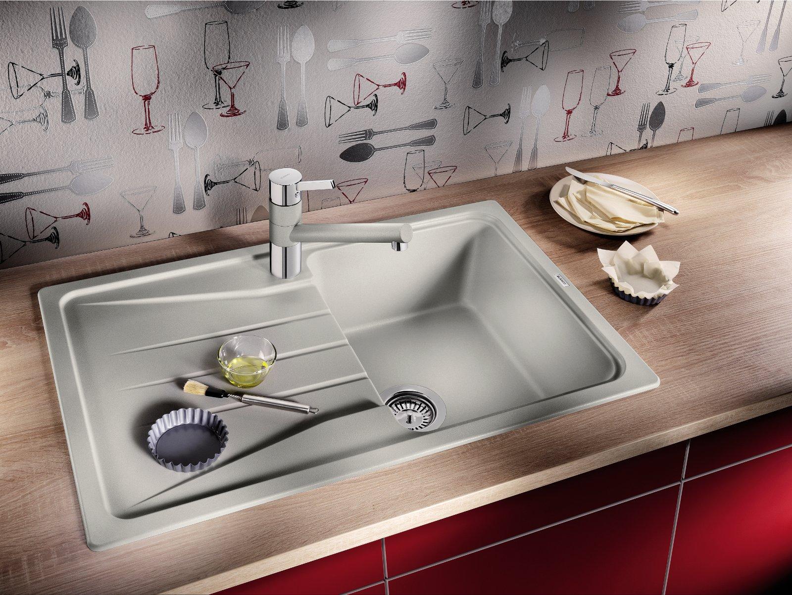 Кухонная мойка жемчужно-серого цвета из фирменного материала SILGRANIT от  Blanco 2014 - вид Б
