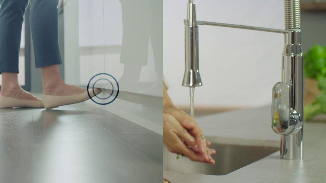 Кухонный смеситель с системой управления FootControl от Grohe в интерьере