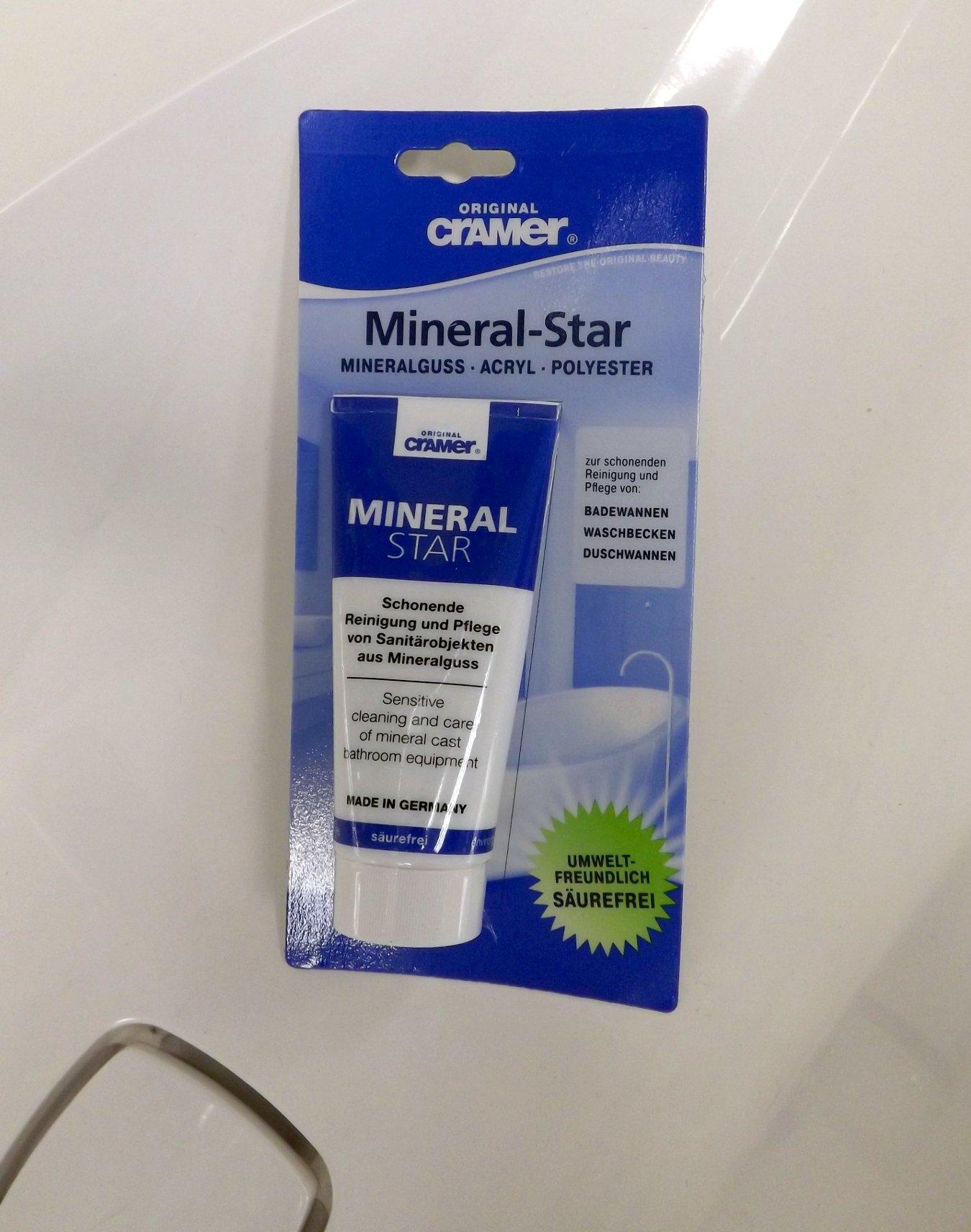 Чистящее средство Mineral-Star от Cramer для мягкого удаления известкового налета и мелких царапин, а также обесцвечивания пятен на поверхностях из минерального литья, а также акриловых и полиэфирных материалов
