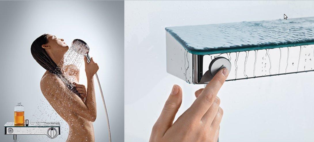 Иллюстрация использования одной из моделей термостатов с полочкой от Hansgrohe