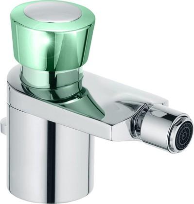 Смеситель для биде однорычажный с донным клапаном, хром / зеленоватый хрусталь Kludi JOOP! 55216H705