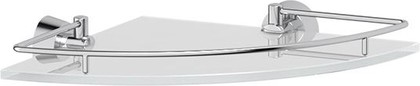 Полка для ванной угловая FBS Vizovice 25см, с ограничителем, хром, стекло VIZ 012