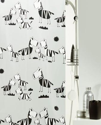 Штора для ванны 180x200см чёрно-белая Spirella ZEBI 1040502