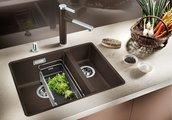 Кухонная мойка без крыла, с клапаном-автоматом, гранит, алюметаллик Blanco Subline 340/160-F 519804