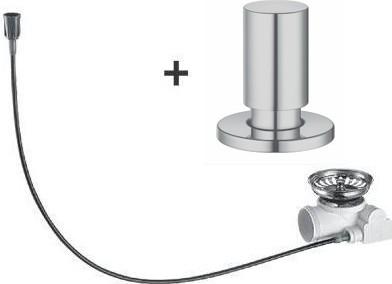 Набор доукомплектации клапаном-автоматом с круглой ручкой управления, нержавеющая сталь, матовая полировка Blanco 517546