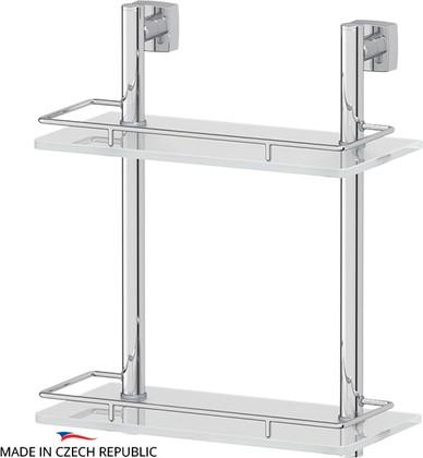 Полка для ванной с ограничителем двойная 30см, стекло FBS ESP 062