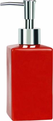 Дозатор для жидкого мыла Spirella Quadro, керамика, отдельностоящий, красный 1013646