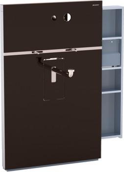 Инсталляция для подвесного умывальника и встроенного смесителя, выдвижной ящик справа, стекло умбра Geberit MONOLITH 131.041.SQ.1