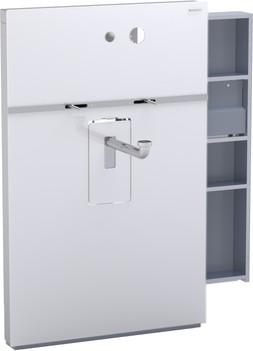 Инсталляция для подвесного умывальника и встроенного смесителя, выдвижной ящик справа, белое стекло Geberit MONOLITH 131.041.SI.1