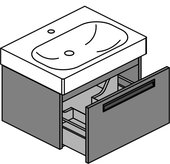 Тумба с раковиной Verona Optima 65, подвесная, один ящик, врезная ручка, LVS панели Ot122L