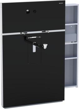 Инсталляция для подвесного умывальника и встроенного смесителя, выдвижной ящик справа, чёрное стекло Geberit MONOLITH 131.045.SJ.1