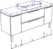 Тумба подвесная с раковиной, 2 ящика, 2 дверцы 140х50х50см Verona Ampio AM210.A080.B030.C030.1
