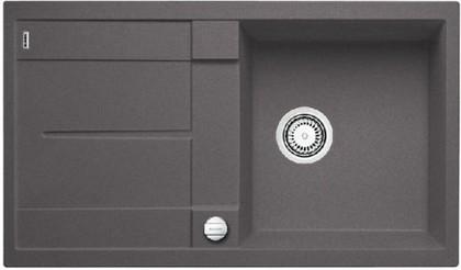Кухонная мойка оборачиваемая с крылом, с клапаном-автоматом, гранит, тёмная скала Blanco Metra 5 S-F 519102