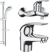 Комплект из душевого гарнитура и смесителей для ванны и раковины Grohe EUROECO 121637