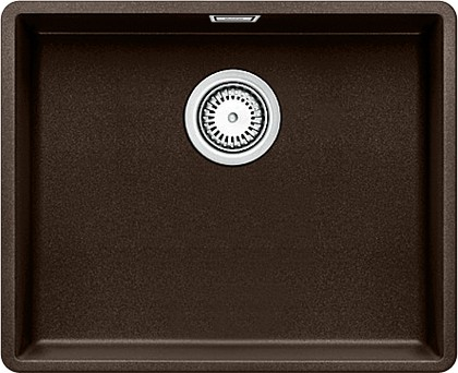 Кухонная мойка без крыла, с клапаном-автоматом, гранит, кофе Blanco Subline 500-F 519814