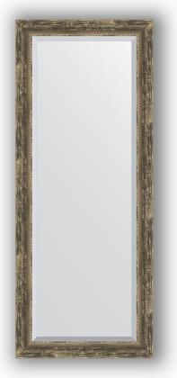 Зеркало с фацетом в багетной раме 58x143см старое дерево с плетением 70мм Evoform BY 3538