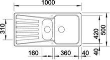 BLANCO NOVA 6 S Схема с размерами: вид сверху