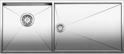 Кухонная мойка основная чаша слева, без крыла, нержавеющая сталь зеркальной полировки Blanco Zerox 400/550-Т-U 517262
