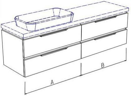 Тумба подвесная, 4 ящика, без столешницы и раковины 140х50х50см Verona Ampio AM112.A070.B070.000