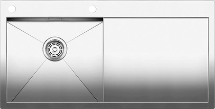 Кухонная мойка чаша слева, крыло справа, с клапаном-автоматом, нержавеющая сталь зеркальной полировки Blanco Zerox 5 S-IF/A 514006