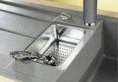 Кухонная мойка оборачиваемая с крылом, с клапаном-автоматом, коландером, гранит, жемчужный Blanco Metra 6 S 520577