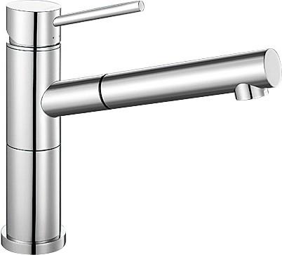 Небольшой кухонный однорычажный смеситель с выдвижным изливом, хром Blanco ALTA-S Compact 515122