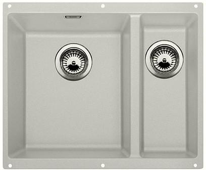 Кухонная мойка без крыла, основная чаша слева, с клапаном-автоматом, гранит, жемчужный Blanco Subline 340/160-U 520647
