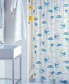 Штора для ванны 180x200см синяя с кольцами 12шт Grund OCEAN 401.98.117