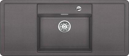 Кухонная мойка с крылом, чаша в центре, с клапаном-автоматом, белые аксессуары, гранит, тёмная скала Blanco Alaros 6 S 518821