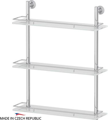 Полка для ванной тройная с ограничителем, 50см, стекло FBS VIZ 069