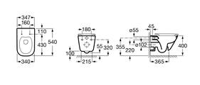 Подвесной унитаз с горизонтальным выпуском,  безободковой, белый Roca THE GAP 34647L000