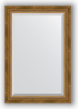 Зеркало с фацетом в багетной раме 63x93см состаренное бронза с плетением 70мм Evoform BY 3432